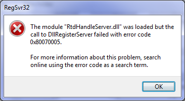 PRB: Under Windows 7, REGSVR32 fails with error code 0x8007005